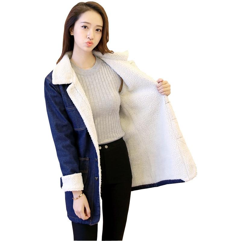 2019 Autumn Winter   Basic     Jacket   Lambswool Bomber   Jacket   Women Long Sleeve Casual Single Breasted Long Denim   Jackets   Outwear R930