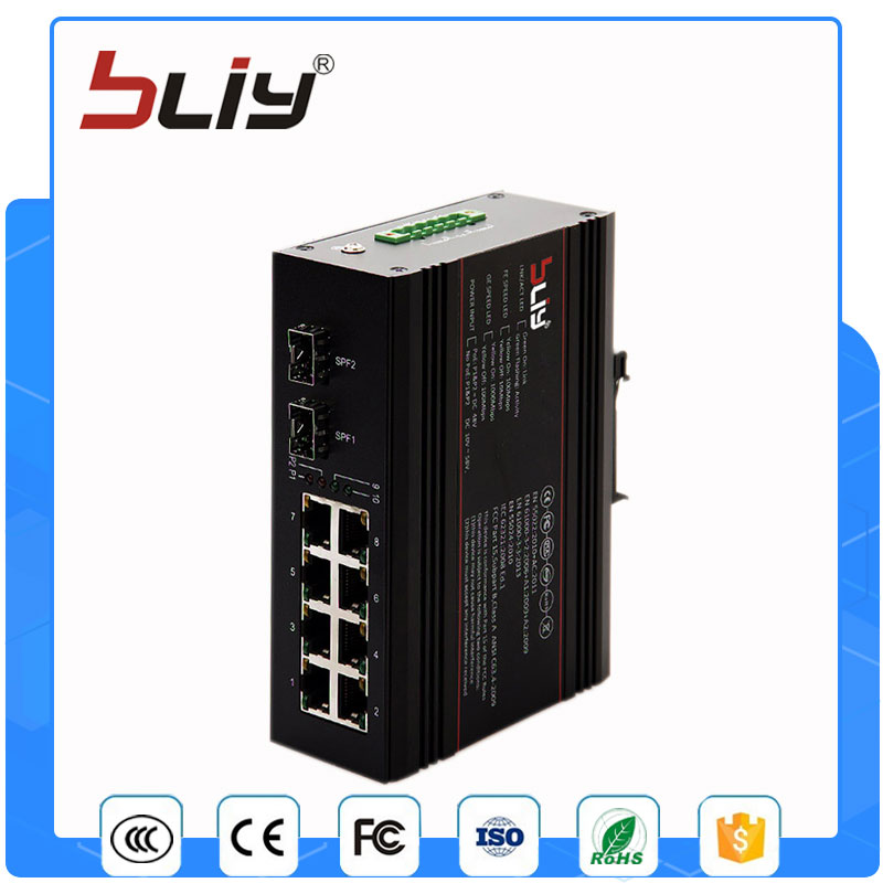 2GX8GP 10/100/1000M managed optical fiber ethernet switch 8 poe 2 sfp port for security system 8 port 10 100 1000mbps ports managed poe switch with 2 gigabit sfp slots