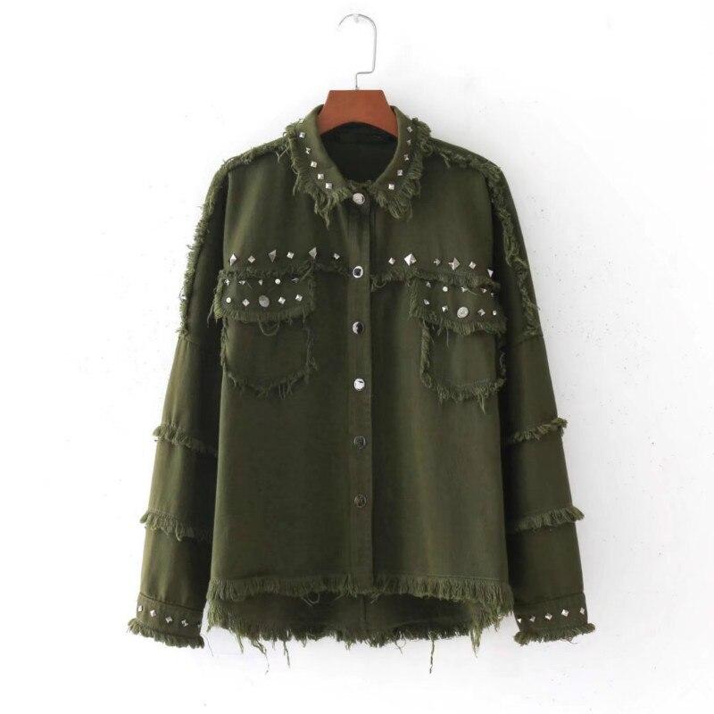 army <font><b>green</b></font> Lapel Yoke Tassel Pom-Pom Trim <font><b>Utility</b></font> Jacket single-breasted Casual Autumn 2017 Women irregular rivets Jacket