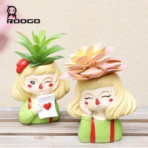 Image 3 - Roogo 유령 말 소녀 꽃 냄비 수지 Cachepot 귀여운 꽃 냄비 즙이 많은 장식 분재 냄비 홈 정원 장식