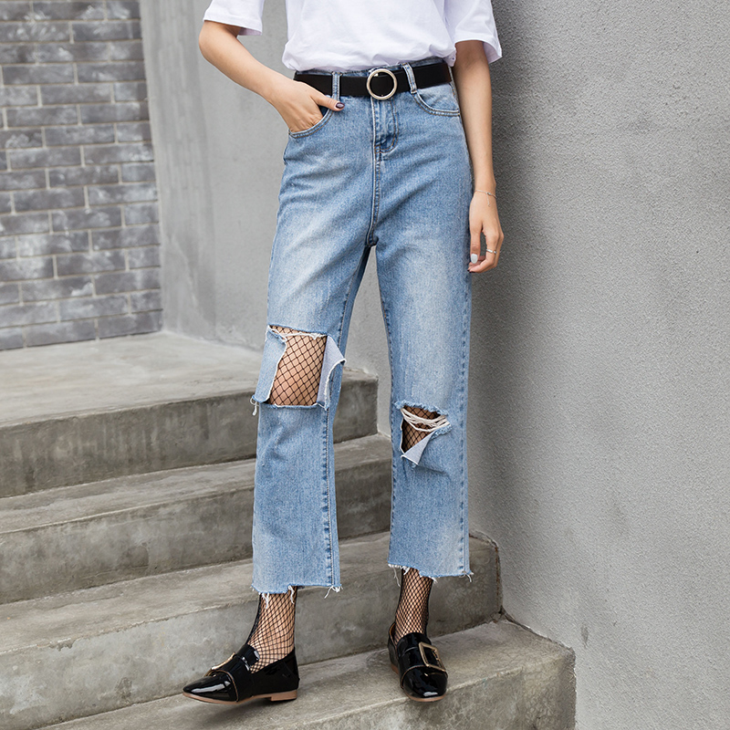New Design Boyfriend Ripped Jeans Women Denim Vintage Harem Pants Hole Loose Woman Jeans High Waist Net Socks Trousers Plus Size loose ankle length jeans for women 2017 new vintage distressed high waist ripped denim harem pants woman trousers plus size