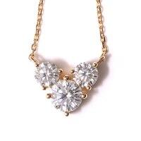 Transgems 18K Yellow Gold 2 CTW Carat Lab Grown moissanite Diamond Solid Pendant Necklace Wedding Birthday Gift