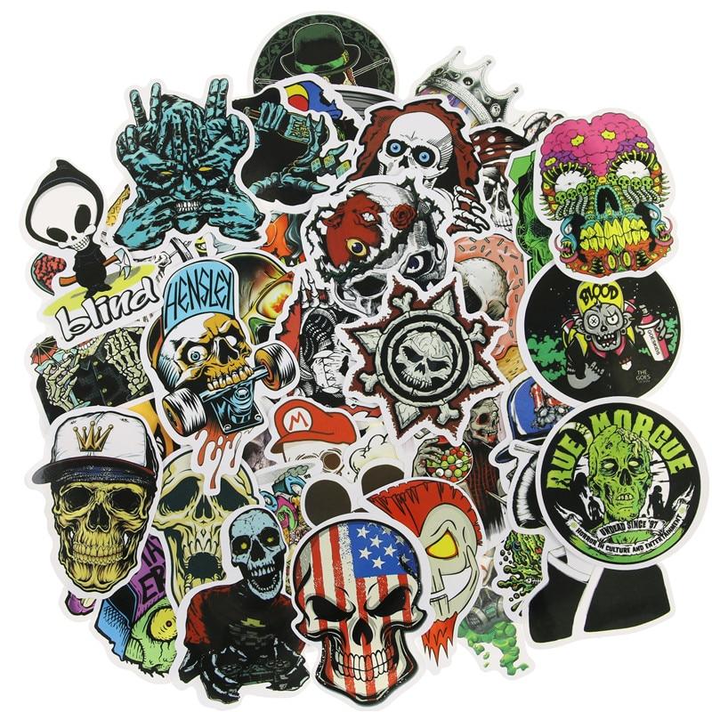 50Pcs Mixed Horror Skeleton Sticker Graffiti Dark Cool Stickers for DIY Luggage Laptop Skateboard Fridge Bicycle Phone Stickers
