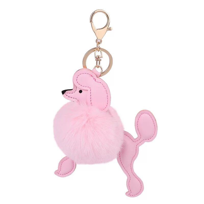 New creative cute plush puppy keychain Cartoon PU leather dog car key ring Female bag pendant accessories Charm jewelry Gifts