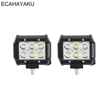 ECAHAYAKU 2PCS 4inch 18W 6000K 1260lm LED Work Light Bar for Motorcycle Tractor Boat Off Road 4WD 4x4 Truck SUV ATV Spot 12v 24v