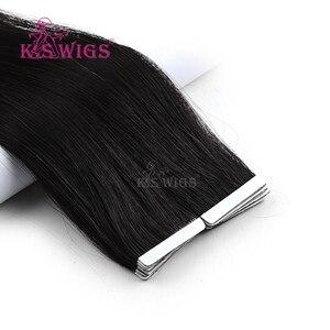 Image 2 - K.s perucas, 10 peças de cabelo humano reto remy para extensão de cabelo 16 20 24