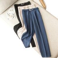 Korean Elegant Slim Formal Office Ladies Harem Pants Women Autumn Winter Sashes Pocket Pencil Pants For Women Trousers 2019