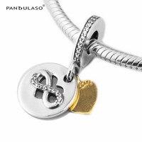 Pandulaso Heart of Infinity Real Golden Charms Fashion Women Silver 925 DIY Jewelry Fit Original Charms Bracelets & Bangles