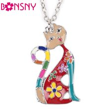 Bonsny Maxi Alloy Enamel Cat Necklace Long Chain Pendant2016 News Fashion Jewelry For Women Statement Charm Collares Accessories(China)