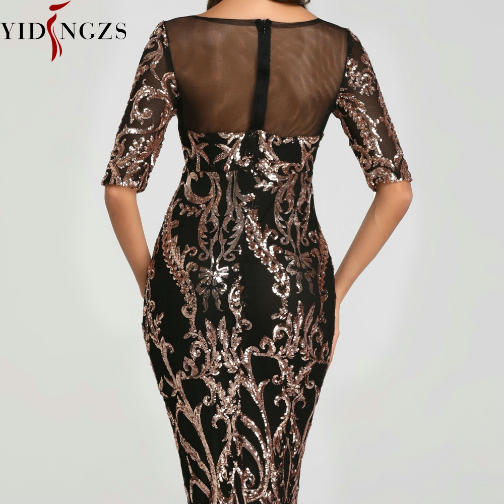 YIDINGZS Sequins Evening Party Dress 2020 Half Sleeve Beads Formal Long Evening Dresses YD603 5