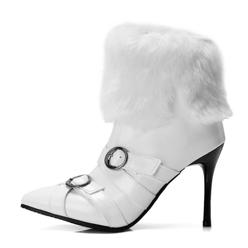 Große Neue Schnee Frau Hochzeit Stiefel Schwarzes Nemaone Heels Schuhe 43 Damen weiß Größe High Super Frauen Ankle Frühling Herbst SxndR6qw