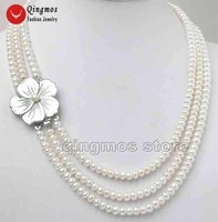Qingmos White Pearl Necklace for Women with Genunie White 6 7mm Flat Round pearl 3 Strands Chokers Necklace 17 18 19 Jewelry