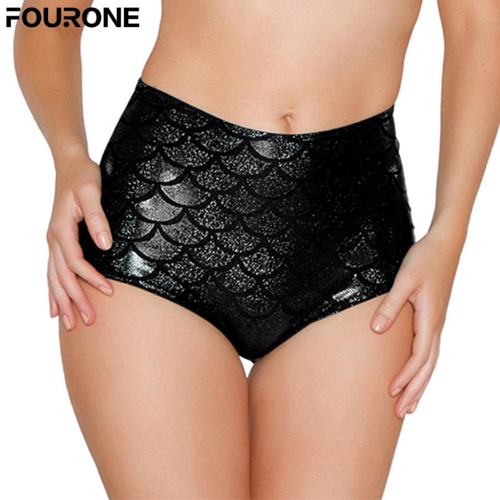 Fashion Sexy Lingerie Women High Waist Scale Mermaid Briefs Sexy   Panties   Shorts Underwear Black Red
