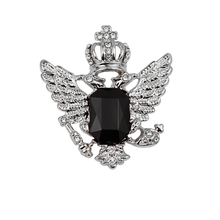 Black Crystal Charm Eagle Brooch Pin Collar Clip for Men/Women's Shirt Accessories Crystal Charm DIY broche Girlfriend Gift pulatu red crystal lobster brooch gift for girlfriend