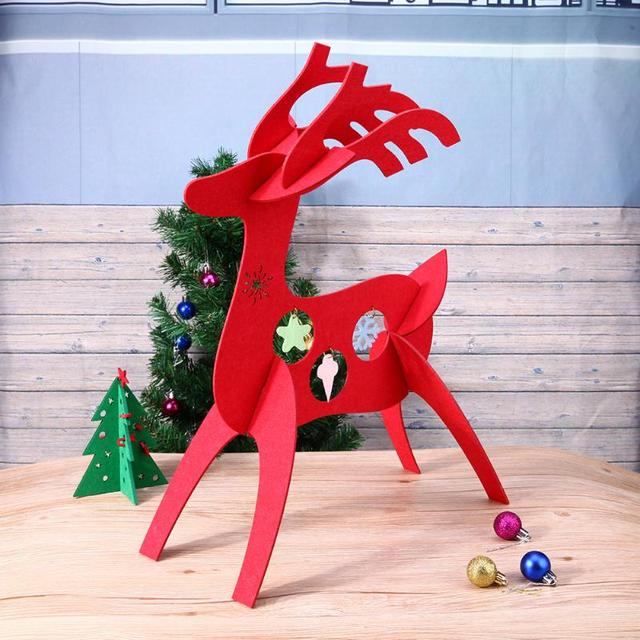 30cm christmas gift ornaments table decorations felt 3d christmas deer decor pendant navidad christmas decorations for - Christmas Deer Decor