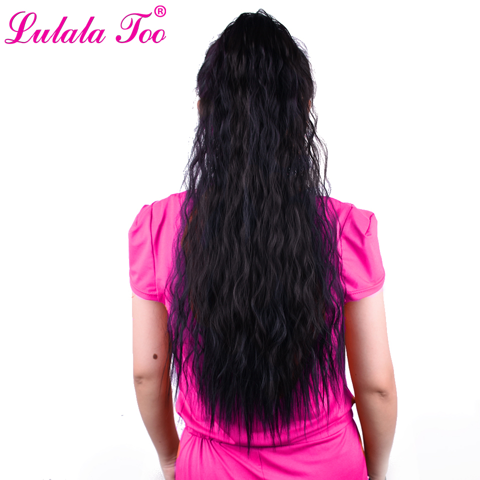 22'' Long Drawstring Kinky Curly Ponytail Synthetic Clip in hair Extension for African American Women Hairpieces(China)