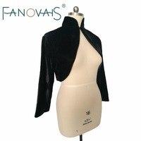Velvet wedding Jacket Long Sleeves Black Bridal Boleros High Neck Elegant wedding Bolero Muslim Wedding Jacket Plus Size