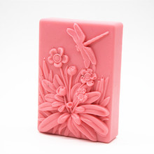 Wholesale food grade silicone handmade soap mould dragonfly pattern flower DIY Craft Block making molds