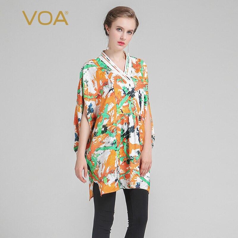 VOA 2019 Musim Panas Mode Sutra Kimono Pencetakan Lengan Pendek Tee - Pakaian Wanita - Foto 1