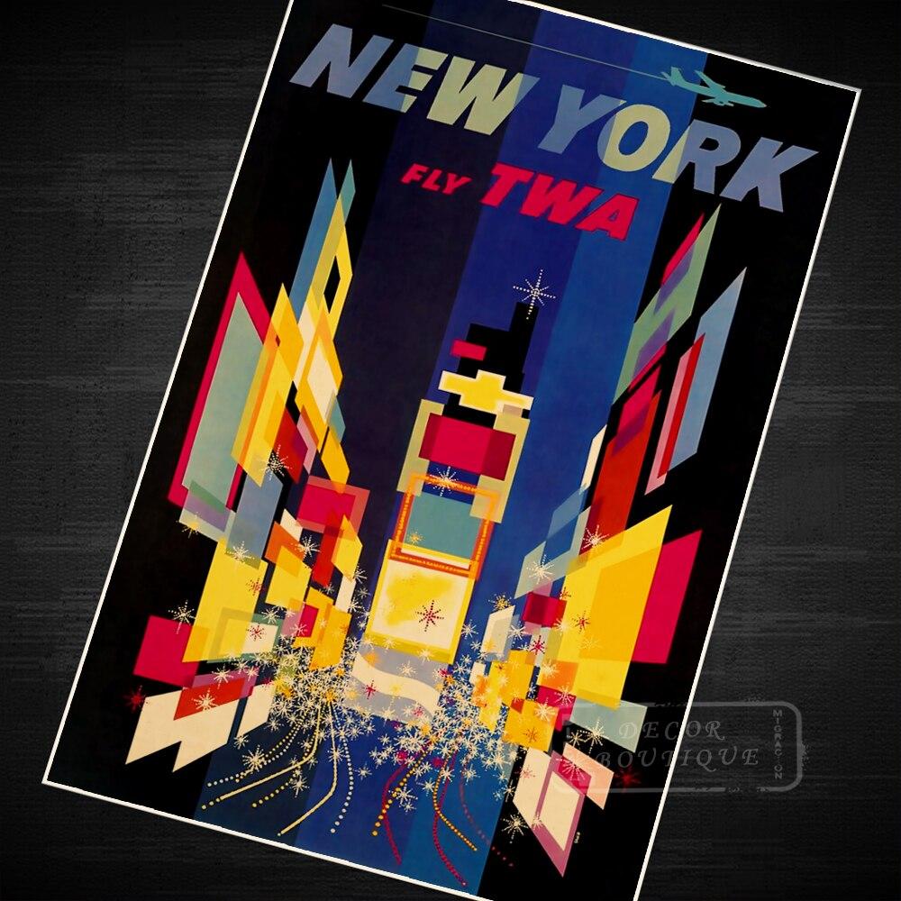 New York travel poster TWA canvas print vintage retro art deco