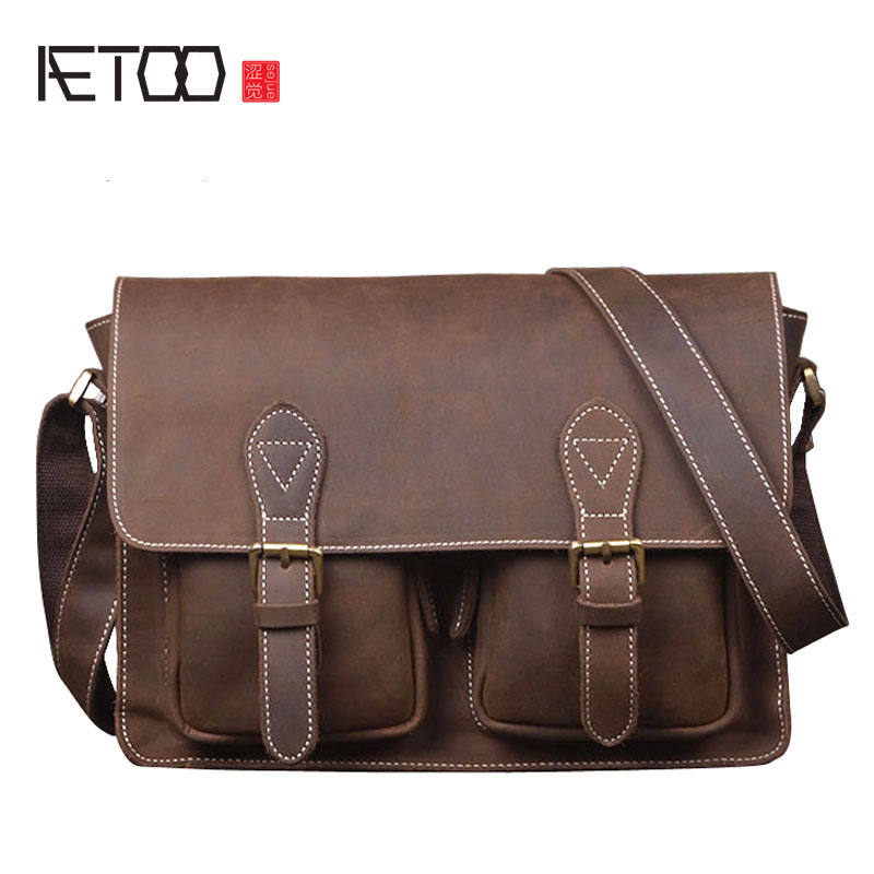 AETOO Men's first layer of cowhide horseshoe handmade leather retro bag horizontal section of the shoulder Messenger leisure men aetoo spring and summer new leather handmade handmade first layer of planted tanned leather retro bag backpack bag