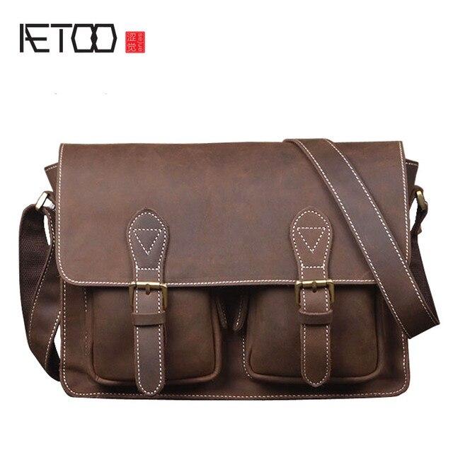 e3f417a5e42e AETOO Для мужчин первый слой из воловьей кожи Подкова ручной кожи ретро сумка  горизонтальная раздел плеча