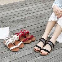 Women Bohemia Fringed Woven Belt Anti Skidding Beach Shoes Peep toe Sandals