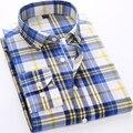 Nueva primavera otoño camisa a cuadros de los hombres Casuales delgado da vuelta-abajo camisa de vestir para hombre de manga larga camisas de los hombres Más tamaño 4XL L496SP