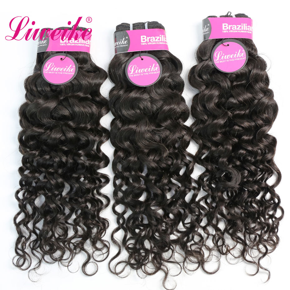 Liweike Brazilian Italian Curly Hair Extensions 3 Bundles Double Weft 100 Human Hair Weave 1B Color