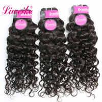 Liweike-extensiones de cabello rizado italiano brasileño, 3 mechones, 100% de trama doble, tejido de cabello humano, Color 1B, Remy, oferta de paquete de 10-30 pulgadas