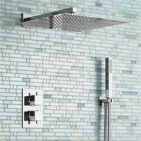 16 ультра тонкий Квадратный Дождь Насадки для душа комплект смеситель Chrome Ванная комната клапан комплект