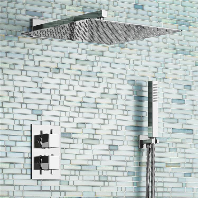 цена на 16 Ultra Thin Square Rain Shower Head Set Thermostatic Mixer Chrome Bathroom Valve Set