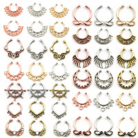 10pcs Mixed Crystal Fake Nose Ring Septum Indian Alloy Silver And Rose Gold Clip On Fake