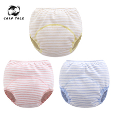 Striping Training Pants Baby Nappies for Toddler Boy Girl Panties Reusable Washable Cloth Nappies Baby Cotton Diapers Waterproof [mumsbest] 4pcs baby pocket diapers with microfiber inserts reusable nappies waterproof boy