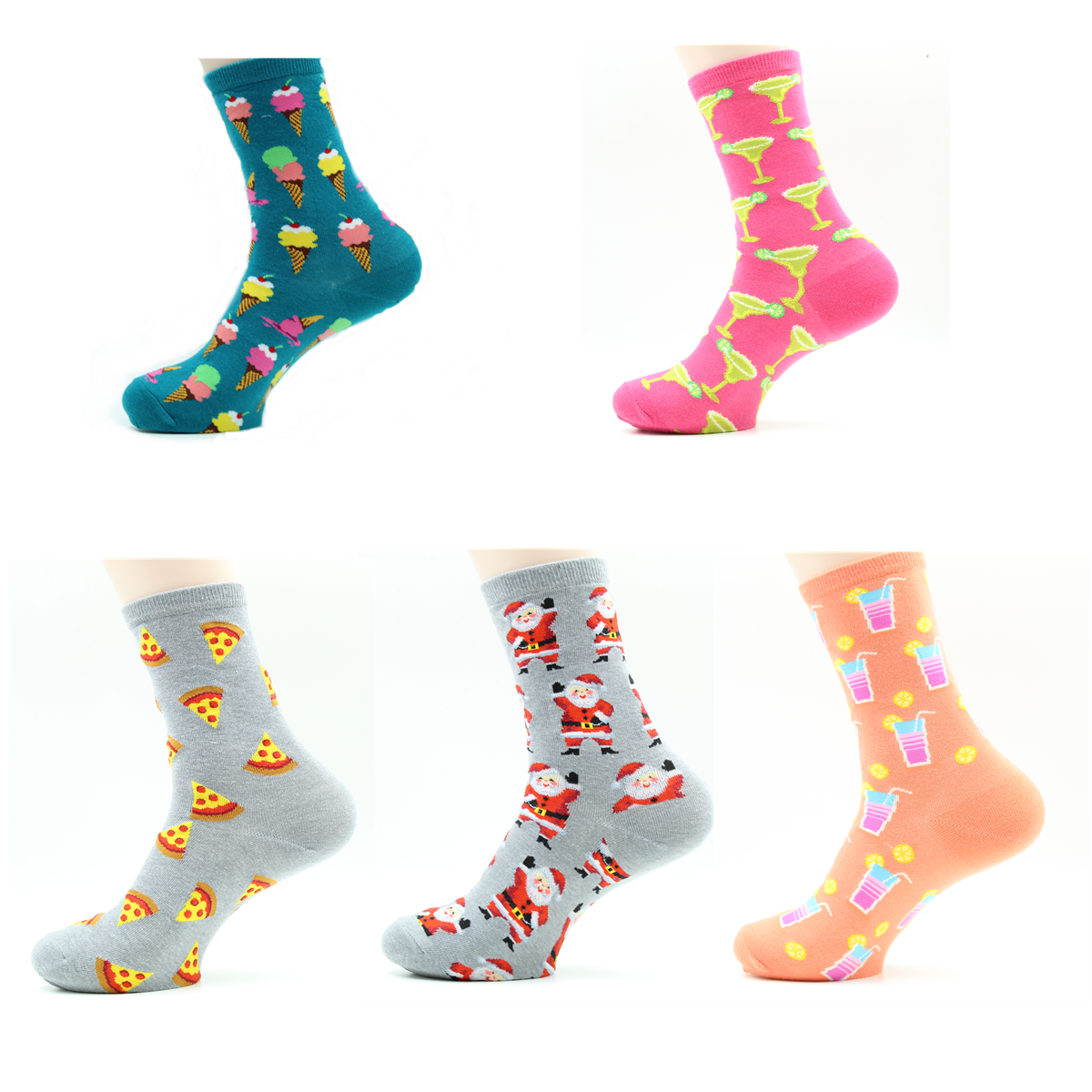 Women's   Socks   Japanese Cotton Colorful Cartoon Cute Funny Happy Kawaii Ice Cream Santa Pizza Food Ball   Socks   Girl Christmas Gift