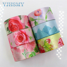 YJHSMY 1711141 Flower satin ribbons,25mm ,10 yards The tape for Sewing ,Wedding Accessories DIY handmade material