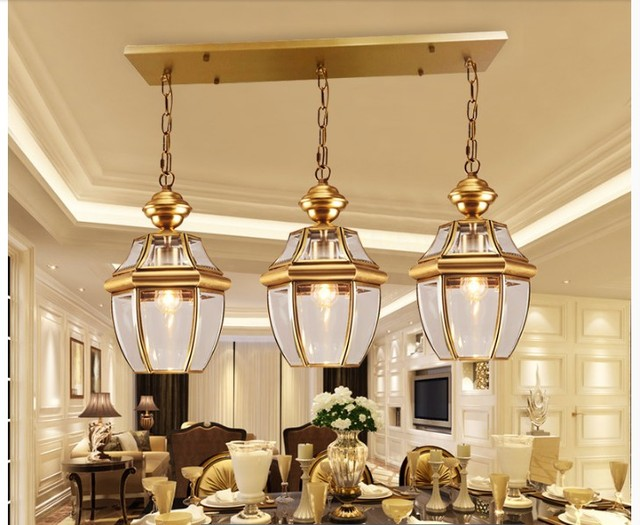 Free Shipping Bronze Pendant Lamp D20cm Brass Chandelier Indoor Vintage Copper Glass Hanging Lamp AC110V/220V 100% Guaranteed