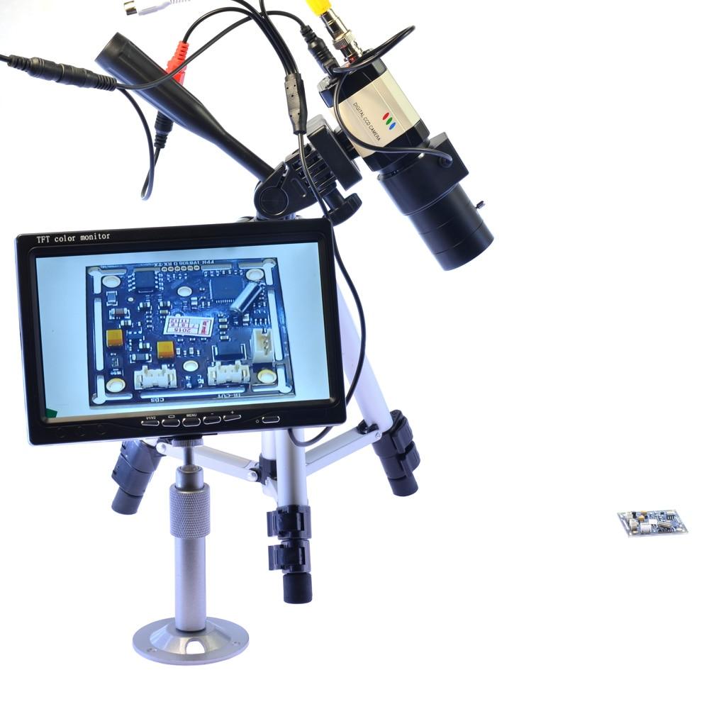 BNC Câmera Tripé de Câmera Microscópio Industrial 6-60 800TVL mm Lente Zoom Varifocal Auto Iris 7 polegada Monitor LCD