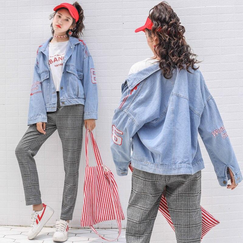 Automne Femmes Veste Hiver Harajuku Alphanumérique Ciel pu Mode Manteau gris Lâche Jean Noir Bonbon Sucré Couleur De Broderie bleu Denim 1I1Xxdrn