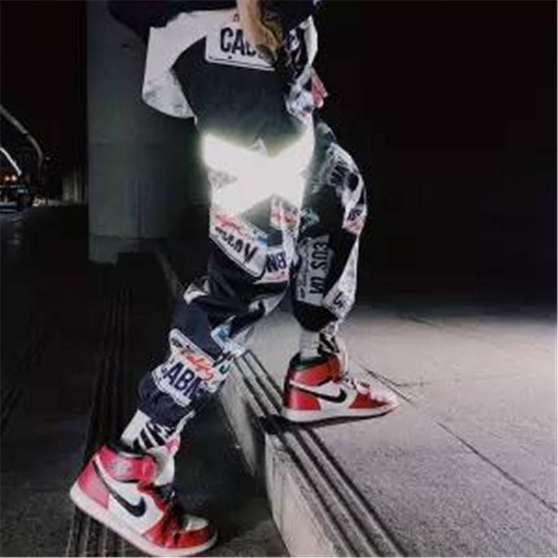 2019 Summer Joggers Hip Hip Pant Star Print Men Harajuku Sweatpant Streetwear Fashion Casual Track Pants Sweat Trousers White