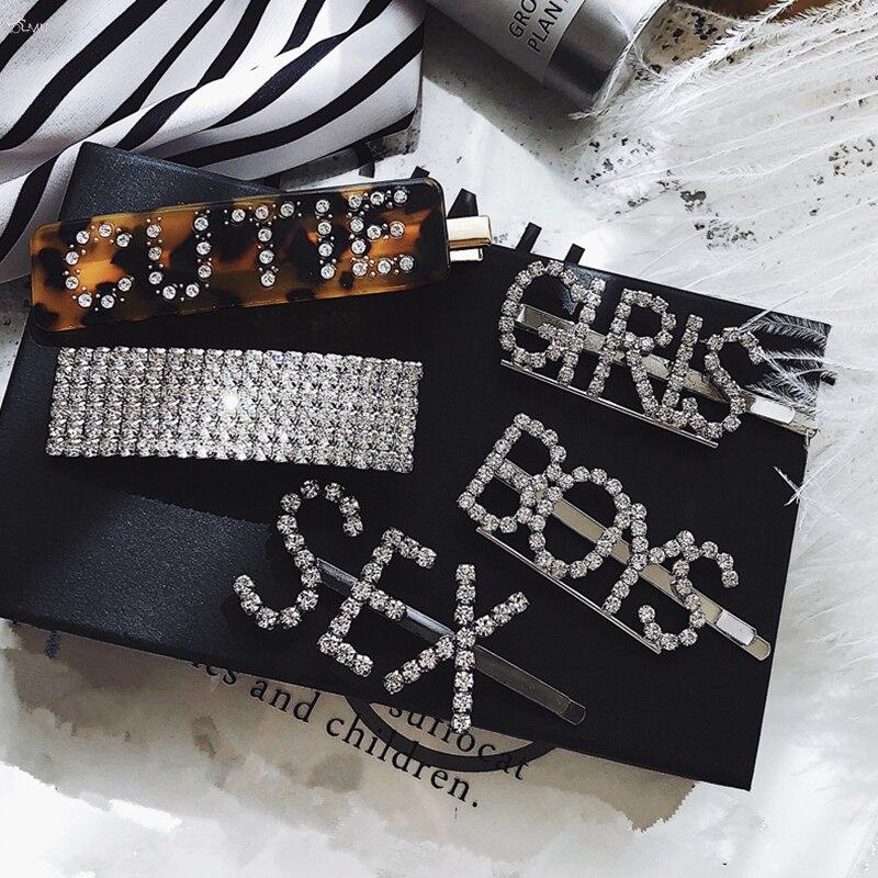 AOMU Fashion Luxury Crystal Rhinestones Hair Clips Leopard Acrylic Hairpin Hair Accessories for Women Letters Hairgrip   Headwear