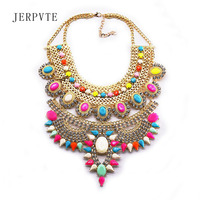 2016 New Hot Sell Fashion Women Metal Collar Chokers Necklaces Large Scale Acrylic Jewelry Colorful Statement
