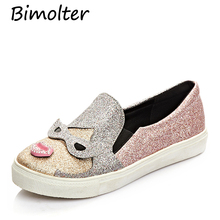 Bimolter Sequined Cloth Cute Bling Animal Prints Flats Platform Thick Heels Ladies Loafers Women Comfortable Lazy Shoes PFEB015
