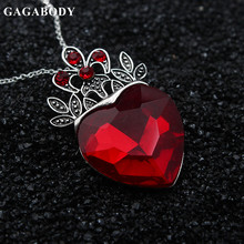 Valentine's Day Red Heart Crown Necklace