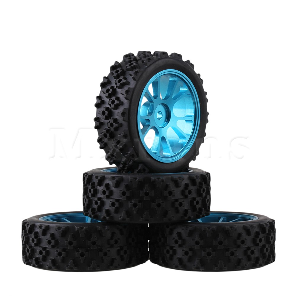 Mxfans 4 x RC 1:10 On Road Car Aluminium 10 Spoke Wheel Rim + Flower Rubber Tyre mxfans 4 x rc1 10 rock crawler black alloy 7 spoke wheel rim simulation rubber tyre