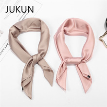 Solid color small square scarf female retro silk satin simulation simple wild professional scarfs spring and autumn