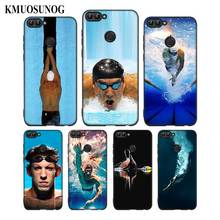 For Huawei P8 P9 P10 P20 Pro Lite P Smart Plus Y6 Y9 2017 Black Soft Silicone Phone Case Michael Phelps Swimming Style