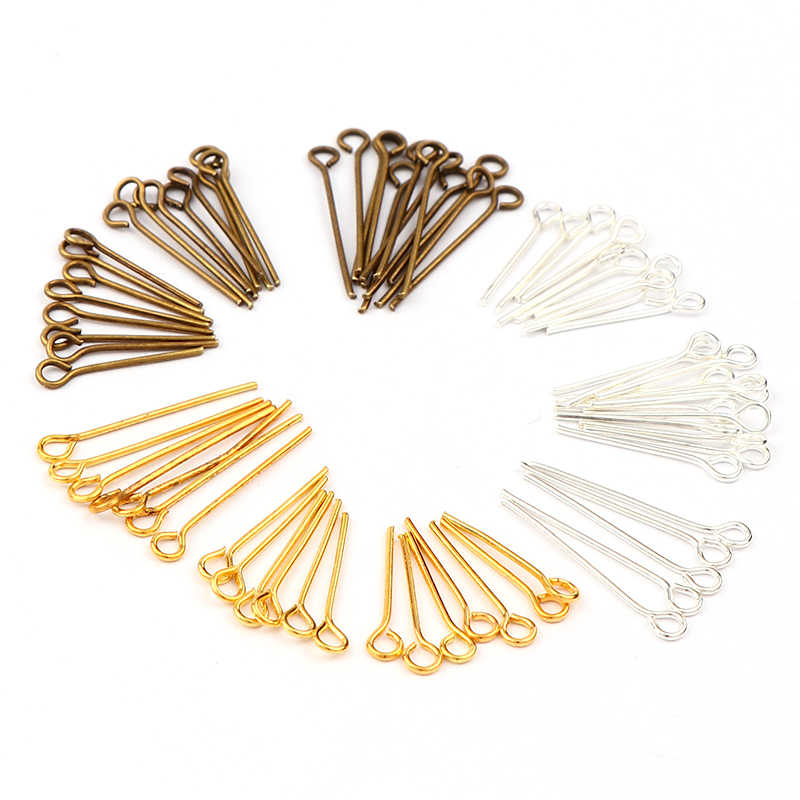 Wire~21 GA 500pcs Top Quality 18mm Eye Pins Antique Bronze Plated Brass for Jewelry Beading Craft Making CF153-18