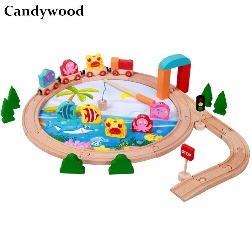 Candywood Fishing train track puzzle blocks Multifunction toys children kids Favorite Scene game boys gift DIY education toys