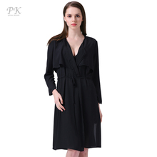 PK spring coat women thin light weight overcoat vintage long coat black solid pattern windbreaker vestido cloak female casual